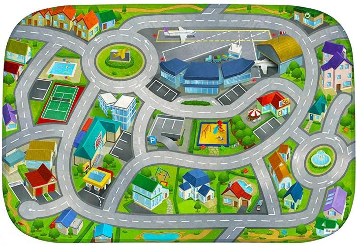 HOUSE OF KIDS Dětský hrací koberec Letiště 3D Ultra Soft 130x180 zelený