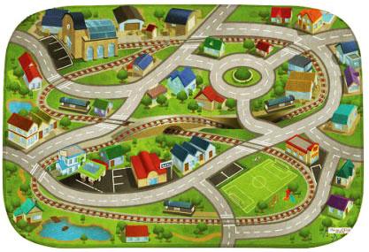 HOUSE OF KIDS Dětský hrací koberec Vlakové nádraží a městečko 3D Ultra Soft 130x180 zelený
