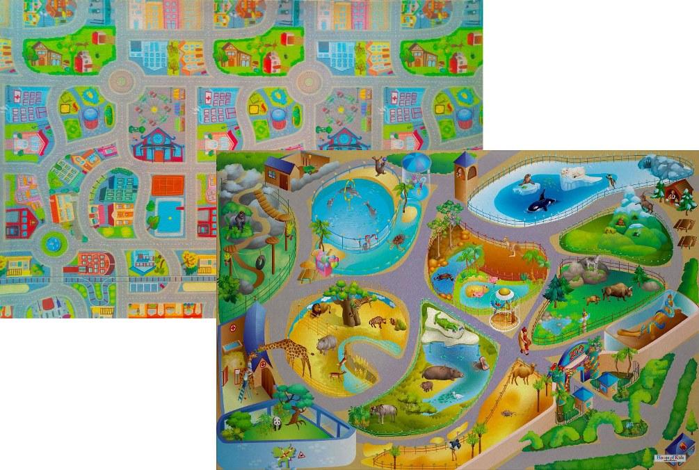 Dětský hrací koberec Zoo / Město 3D oboustranný 100x150