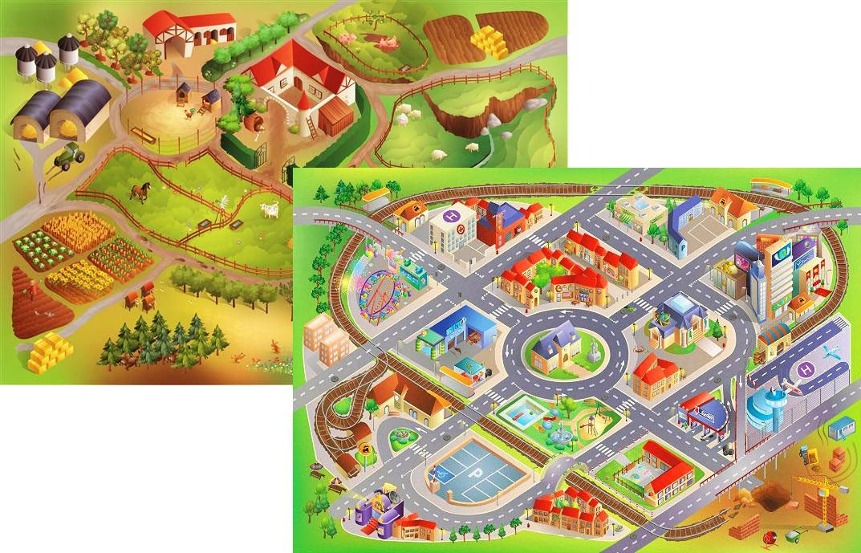 Dětský hrací koberec Farma / Město 3D oboustranný 100x150