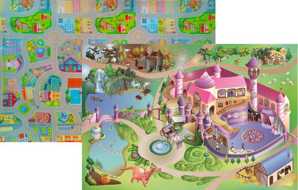 Dětský hrací koberec Zámek princezna / Město 3D oboustranný 100x150