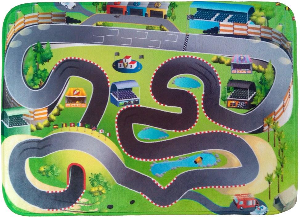 HOUSE OF KIDS Dětský hrací koberec Závodní dráha 3D Ultra Soft 70x100 zelený