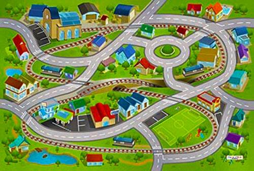 HOUSE OF KIDS Dětský hrací koberec Vlakové nádraží a městečko 3D 100x150 zelený