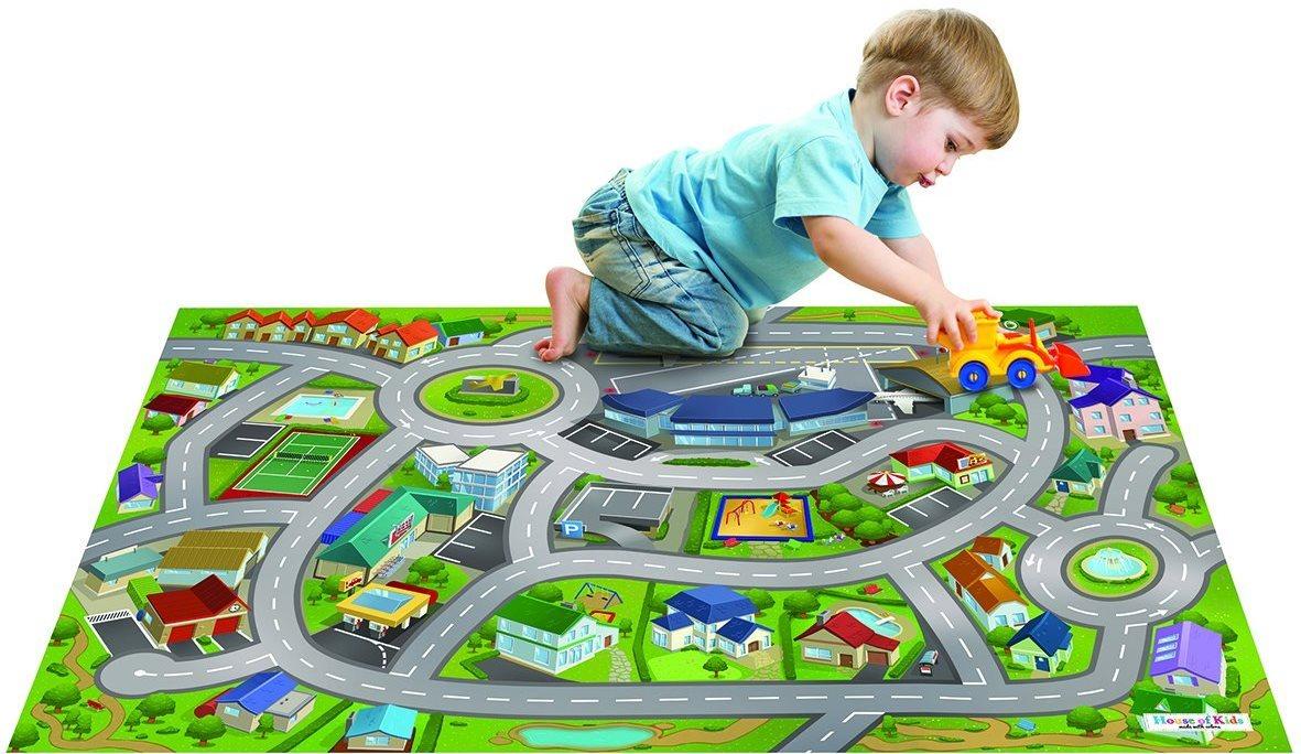 HOUSE OF KIDS Dětský hrací koberec Město letiště 3D 100x150 zelený