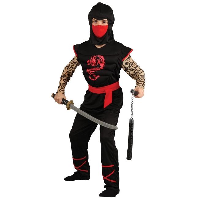 Fotografie Dětský kostým Ninja svalnatý tetovaný 4 dílný set vel. S-XL M