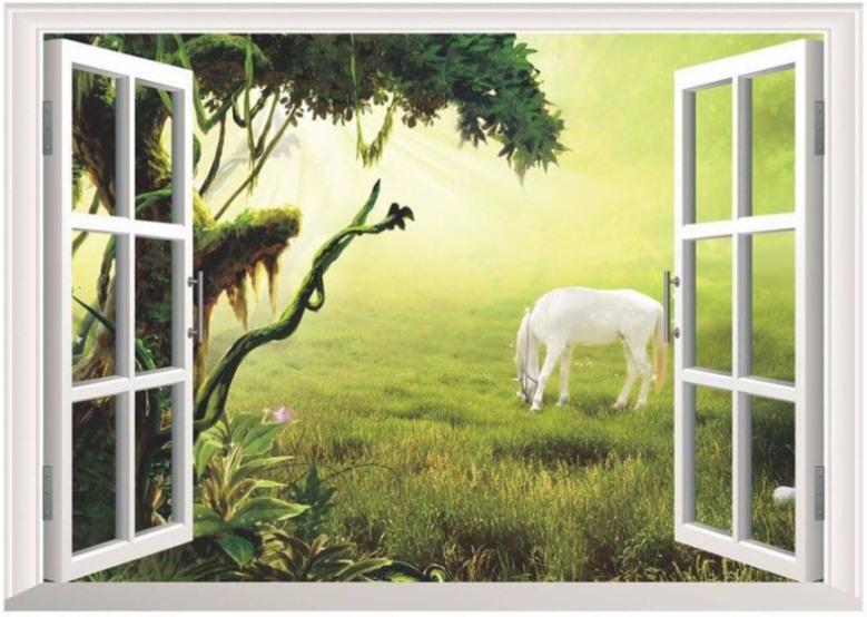 Samolepka na zeď 3D okno Kůň bělouš 48 x 68 cm