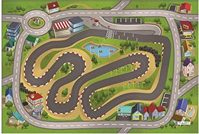 Dětský hrací koberec Závodní okruh 3D 100x150