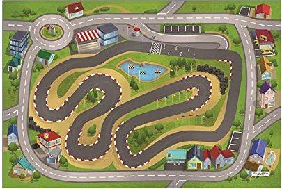 HOUSE OF KIDS Dětský hrací koberec Závodní okruh 3D 100x150 zelený