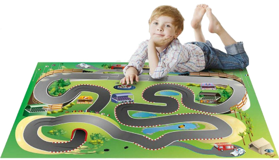 HOUSE OF KIDS Dětský hrací koberec Závodní dráha 3D 100x150 zelený