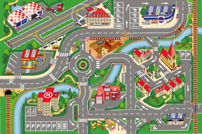 HOUSE OF KIDS Dětský hrací koberec Letiště 3D 100x150 zelený