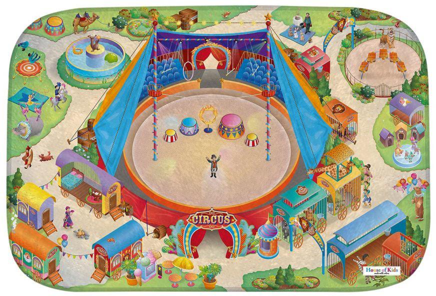 HOUSE OF KIDS Dětský hrací koberec Cirkus 3D Ultra Soft 100x150 pestrobarevný