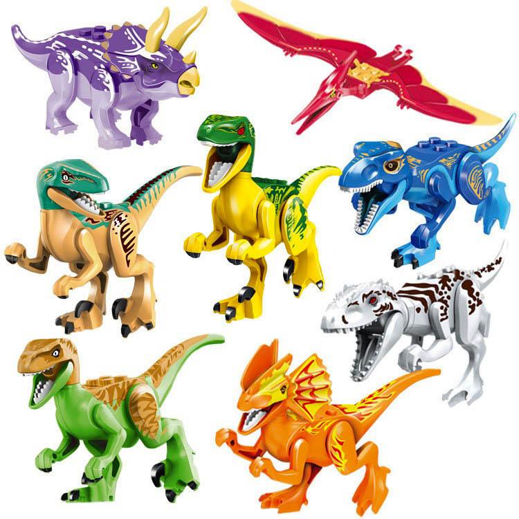 Figurky / Minifigurky Jurský park dinosauři LEGO kompatibilní sada 8ks 8cm barevní