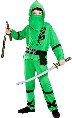 Fotografie Dětský kostým Ninja zelený 4 dílný set vel. S-XL S