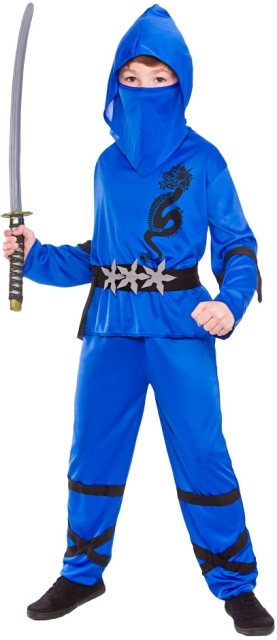 Dětský kostým Ninja modrý 4 dílný set S