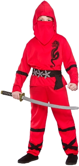 Dětský kostým Ninja červený 4 dílný set S