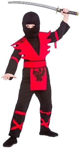 Dětský kostým Ninja černočervený II 4 dílný set S