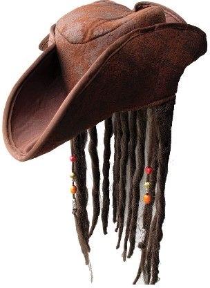 Pirátský klobouk s vlasy a korálky