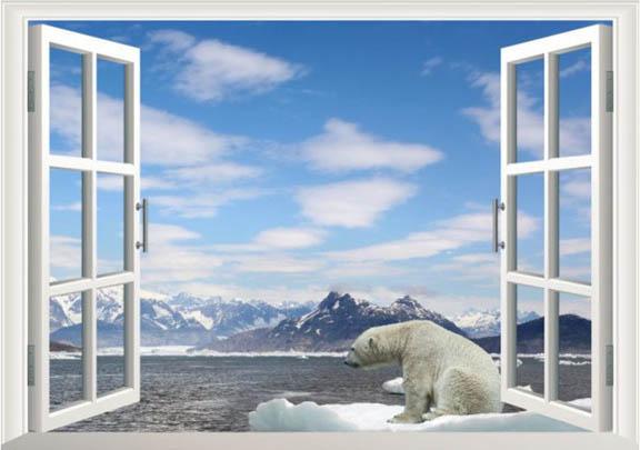 Samolepka na zeď 3D okno Polární medvěd 48 x 68 cm