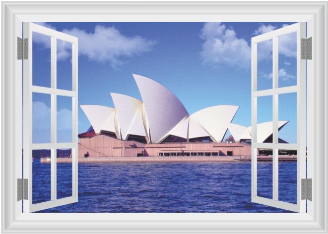 Samolepka na zeď 3D okno Opera v Sydney 50 x 70 cm