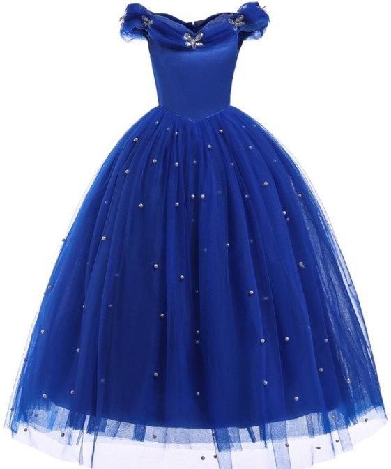 Dětský kostým Princezna / šaty Princezna bez rukávů modré 110