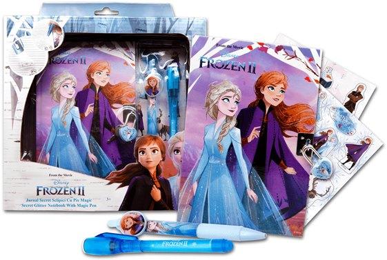 Tajný diář na zámek Frozen 2 + propiska + magické pero + samolepky