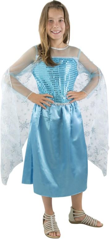 Kostým Frozen / šaty Frozen Ledové království - Elsa modré Velikost kostýmu: L (10-12 let)