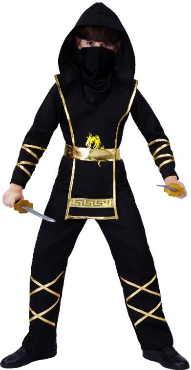 Dětský kostým Ninja zlatočerný 5 dílný set Velikost kostýmu: L (10-12 let)