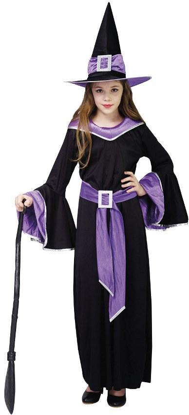 Dětský kostým Čarodějka černofialový sada 3ks Velikost kostýmu: L (10-12 let)