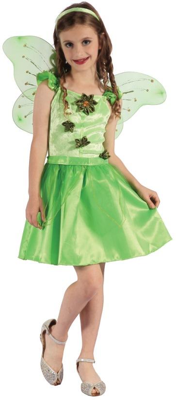 Dětský kostým víla zelená sada 4ks Velikost kostýmu: L (10-12 let)