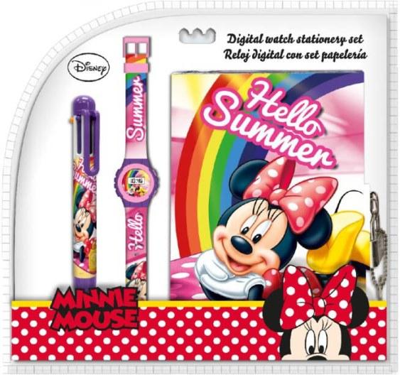 Diář na zámek + hodinky + propiska 6 barev Minnie Mouse
