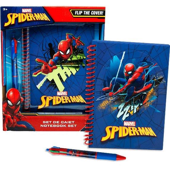Kroužkový flip blok diář Spiderman A5 + 6 barevná propiska