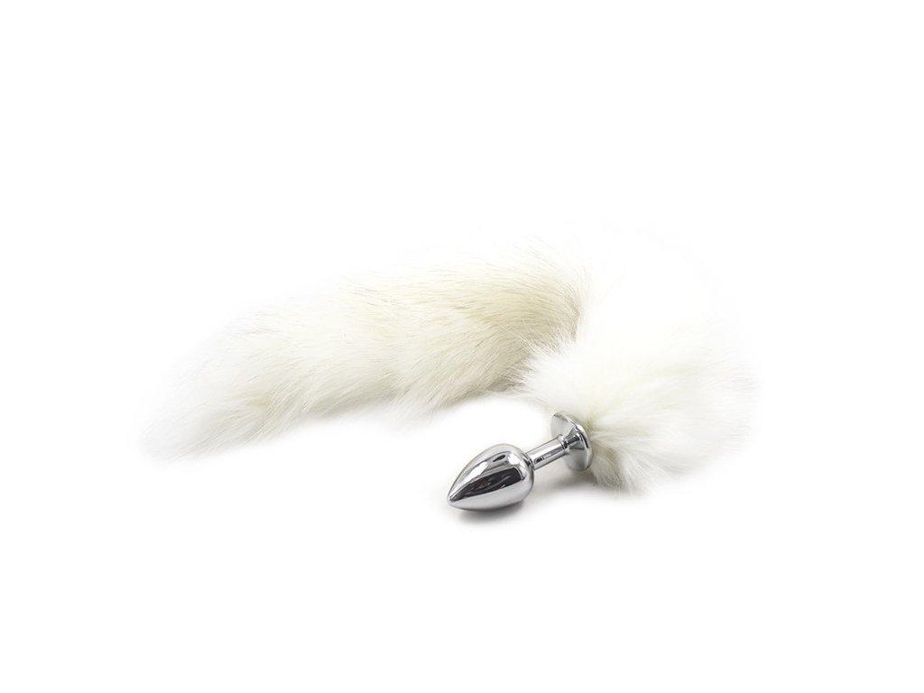 Anální kolík s liščím ocasem, bílý, velikost S