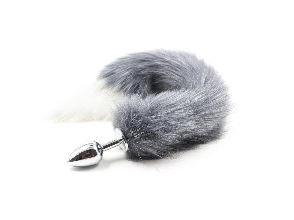 Anální kolík s liščím ocasem, šedý, velikost S