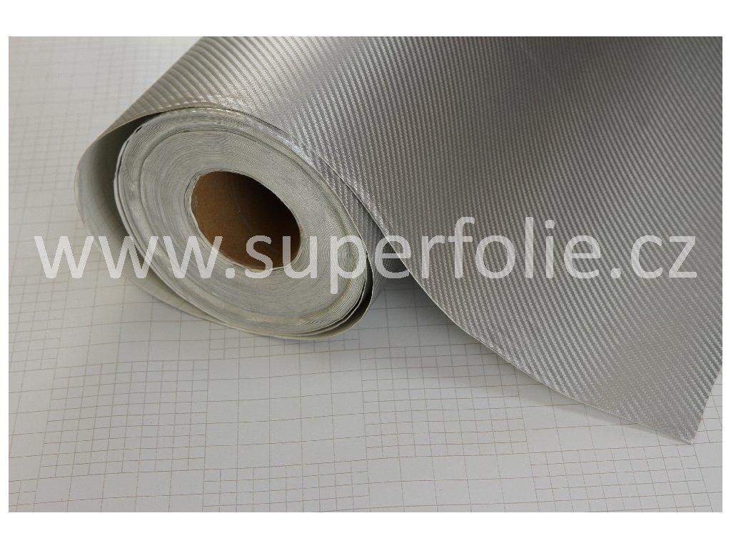 Superfolie autofólie Stříbrná karbonová tkanina, samolepící