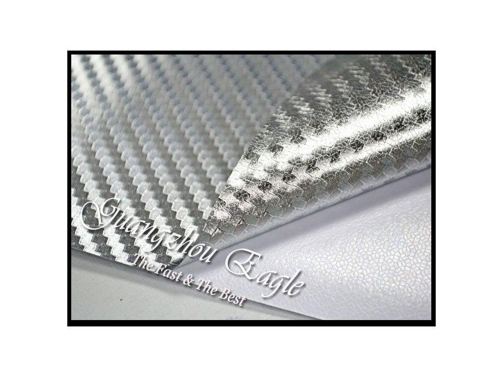 Superfolie 3D stříbrná chromová karbonová fólie s kanálky
