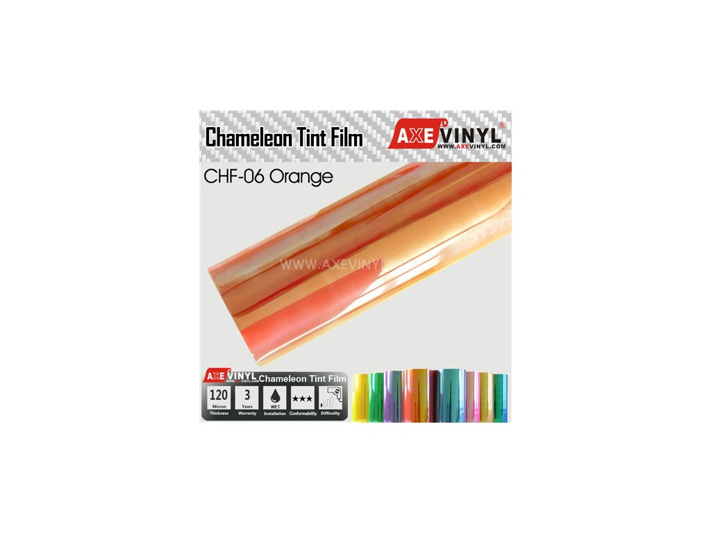 CHF 06 Orange AXEVINYL Transparent Chameleon Headlight Tint Film