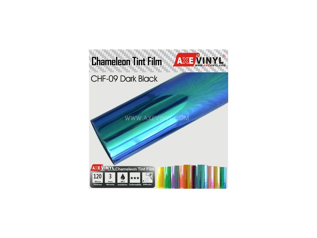 CHF 09 Dark Black AXEVINYL Transparent Chameleon Headlight Tint Film