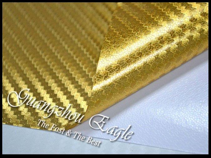 Zlatá chromová karbonová fólie, kanálky