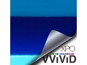 Modrá lesklá chromová VViViD vinyl, kanálky