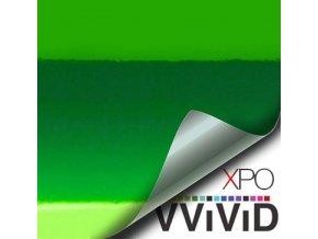Zelená lesklá chromová VViViD vinyl, kanálky