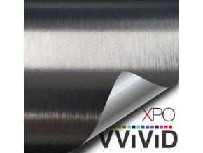 Chromový šedý broušený hliník VViViD vinyl, kanálky