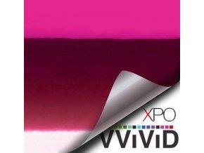 Růžová lesklá chromová VViViD vinyl, kanálky