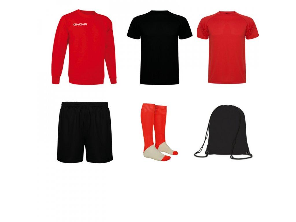 Tréningový box superfutbal spring, 6 kusový, červená čierna farba
