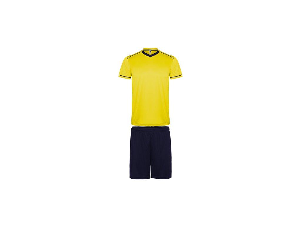 Futbalový set dres + šortky United, žltá / tmavo modrá
