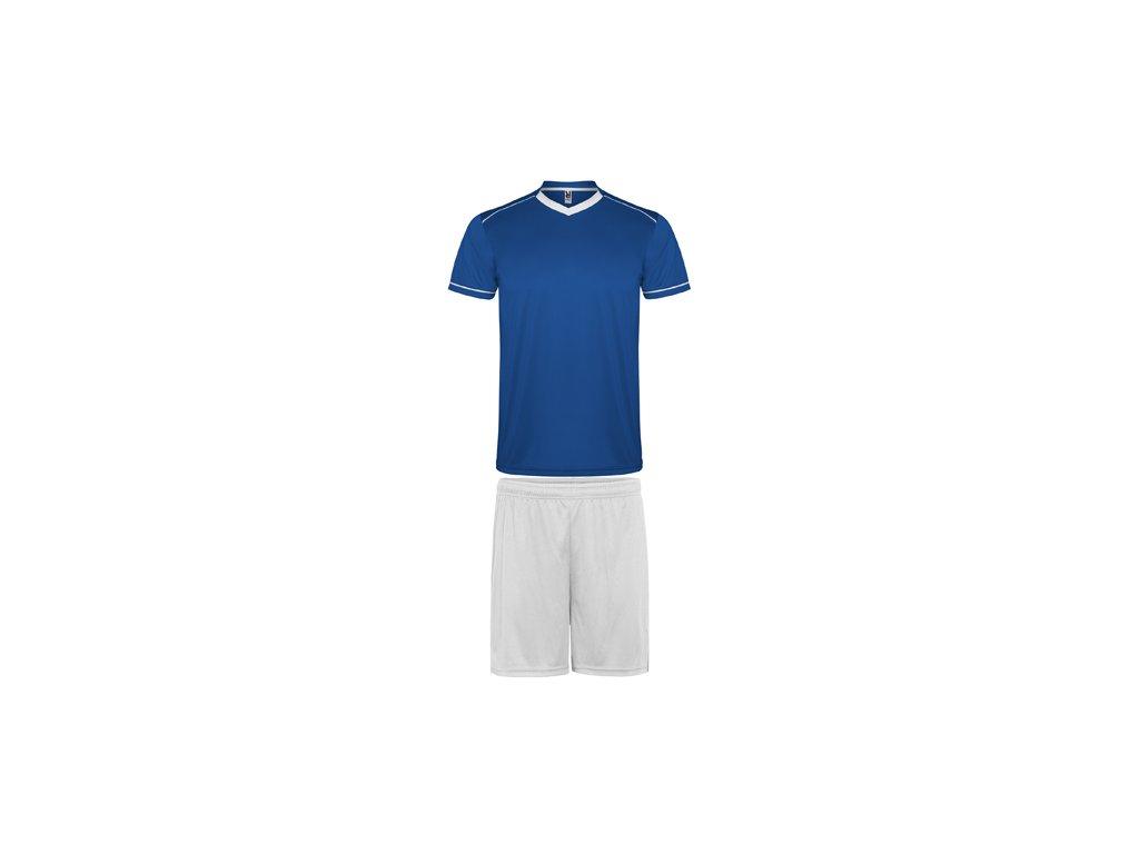 Futbalový set dres + šortky United, kráľovsky modrá / biela