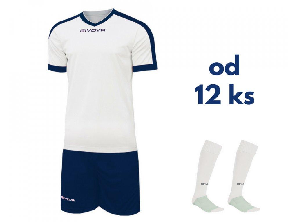 Futbalová sada Givova revolution pre celé mužstvo, od 12 ks, biela / tmavo modrá