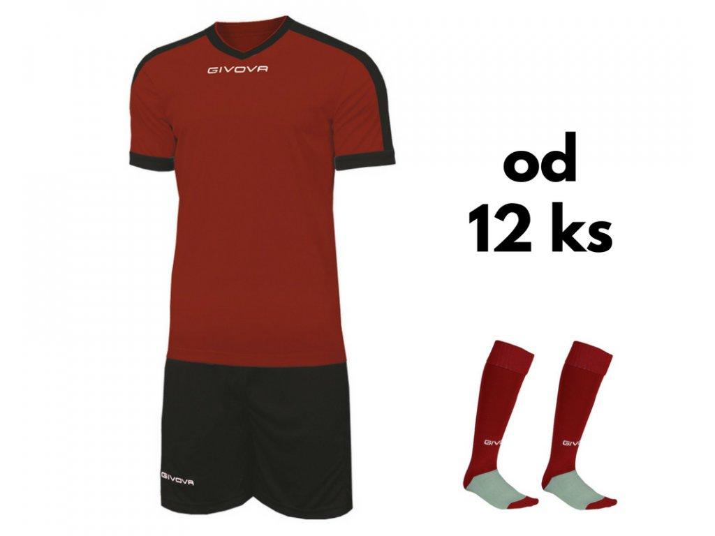 Futbalová sada Givova revolution pre celé mužstvo, od 12 ks, bordová / čierna