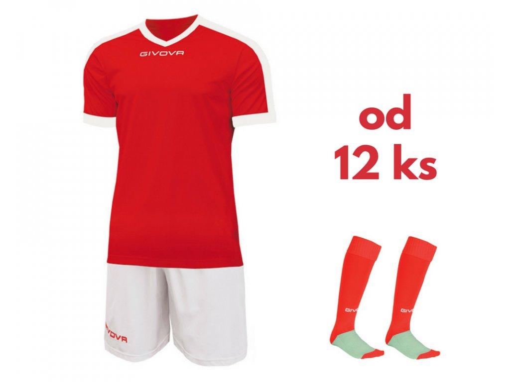 Futbalová sada Givova revolution pre celé mužstvo, od 12 ks, červená / biela
