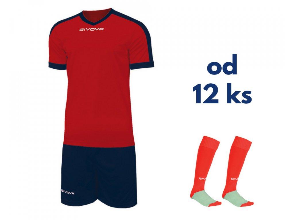 Futbalová sada Givova revolution pre celé mužstvo, od 12 ks, červená / tmavo modrá