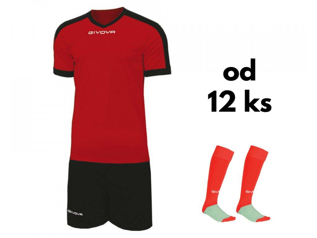 Futbalová sada Givova revolution pre celé mužstvo, od 12 ks, červená / čierna